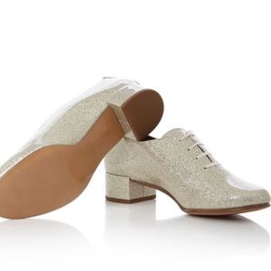 Perfect Marc Jacobs Betty Gold Glitter Oxfords